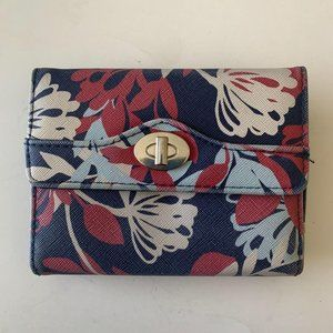 Safe Keeper Blue Floral Wallet Trifold